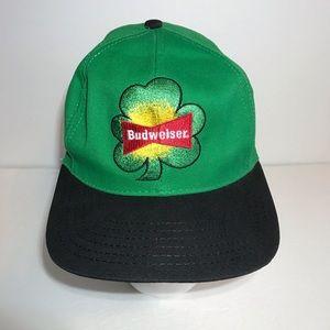 Vintage Budweiser Beer SnapBack Hat Irish Shamrock